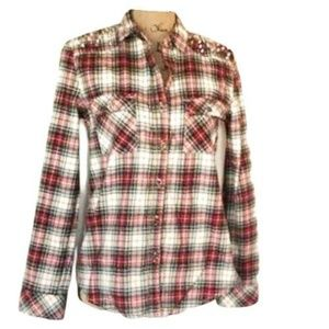 Women's Western Shirt Plaid Studded Button Down S